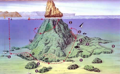 Ilustración que muestra la orografía submarina de las Islas Medes, l'Estartit