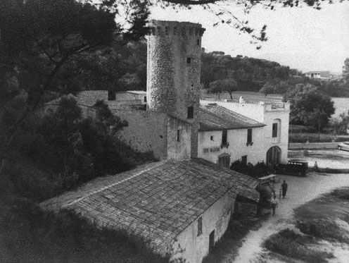 Foto de época de la Torre Valentina, en Calonge, Costa Brava