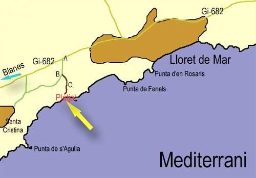 En este mapa se puede ver la posición de Cala Boadella en el litoral de Lloret de Mar