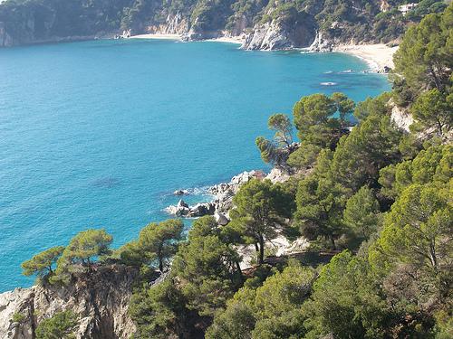 Vista aérea de la Cala Llevado, en Tossa de Mar, junto a las montañas de l'Ardenya