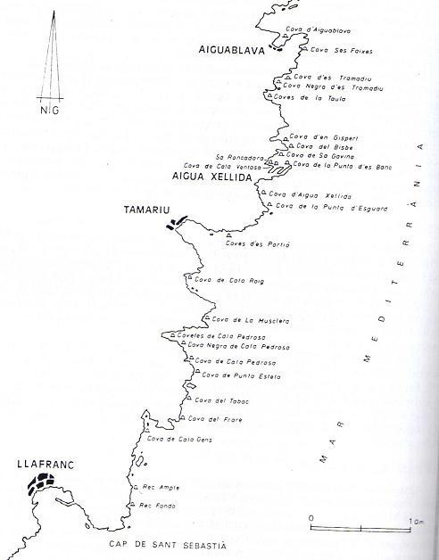 Mapa que muestra las numerosas cuevas marinas que podemos encontrar entre Llafranc y Aiguablava
