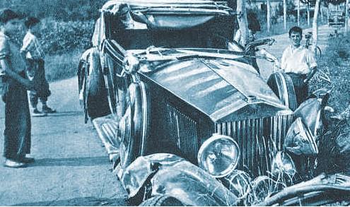Estado del Rolls-Royce accidentado del principe georgiano Alexis Mdivani, cuñado de Sert, en Albons.