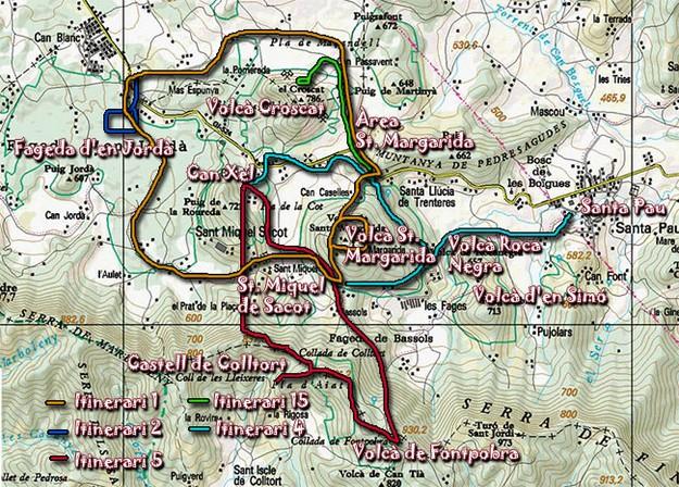 En la Zona Volcánica de la Garrotxa es posible seguir diversos itinerarios