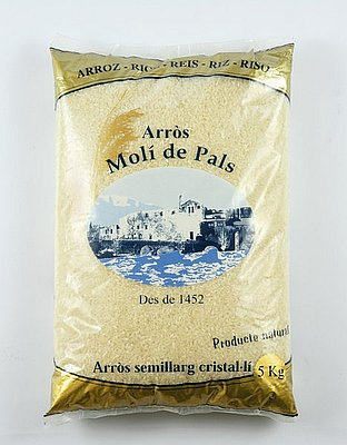 Paquete de arroz de Pals, de la variedad bomba
