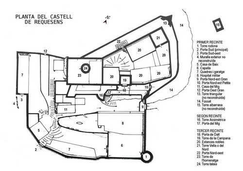 Plano del Castillo de Requesens, en Cantallops