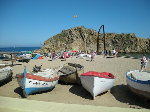 La playa de s'Abanell, en Blanes, Girona, Costa Brava