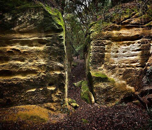 Los diferentes estratos que forman los muros de los Clots de Sant Julià son un testimonio de la larga historia de explotación que se ha llevado a cabo sobre esta pedrera