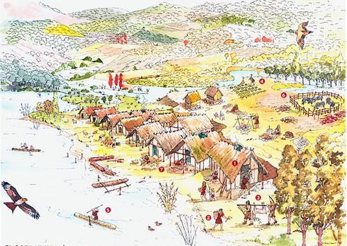 En este curioso dibujo podemos observar las diferentes actividades que realizaban los habitantes de la Draga y el entorno natural en el que se encontraban