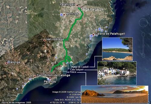 Imagen satélite del recorrido que se efectúa a través de la vía verde del Tren Petit entre Palamós y Palafrugell