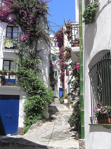 Preciosas y tranquilas calles estrechas con terrazas y ventanas adornadas con flores rodean la playa de Port Alguer