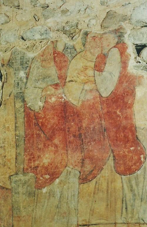 Este es uno de los varios murales conservados en precario estado en el interior del Monasterio de Sant Miquel de Cruïlles