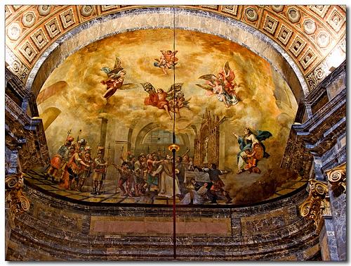 Pintura mural que representa el conocido como el Milagro de las Moscas, una curiosa leyenda contra el invasor francés