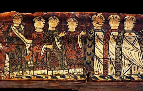 Viga de madera policromada procedente de Sant Miquel de Cruïlles