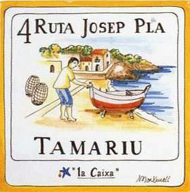 Baldosa de la Ruta Josep Pla correspondiente al barrio de pescadores de Tamariu