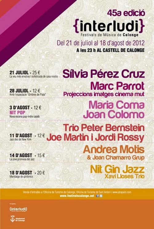 Cartel del Festival de Música de Calonge Interludi, correspondiente a la edición 2012