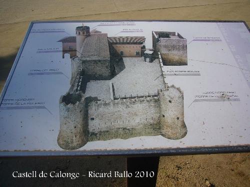 Este mapa situado en el Castillo de Calonge nos muestra las diferentes estancias que lo componen