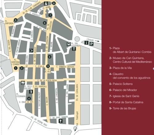 Mapa del centro histórico de Torroella de Montgrí, donde se observa claramente su trazado de campamento romano.