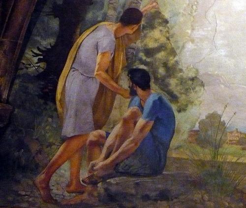 """Los muros de la iglesia de Sant Martí de Palafrugell se encuentran adornadas con bellos frescos como este, titulado """"Los dos amigos"""""""