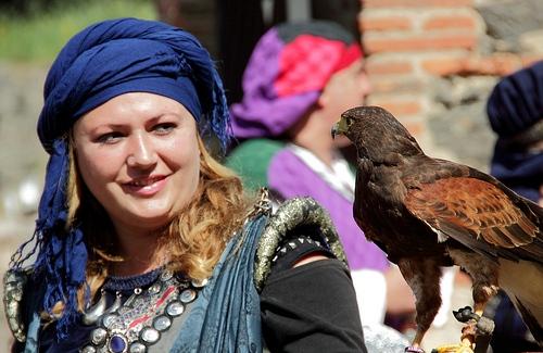 Espectáculo de cetrería en la Feria Medieval de Hostalric, Girona, Costa Brava