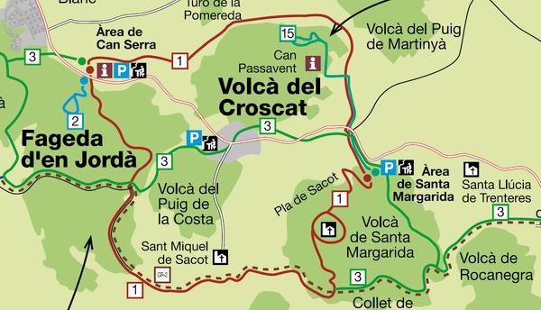 Mapa que muestra algunos de los itinerarios establecidos para recorrer el Parque Volcánico de la Garrotxa