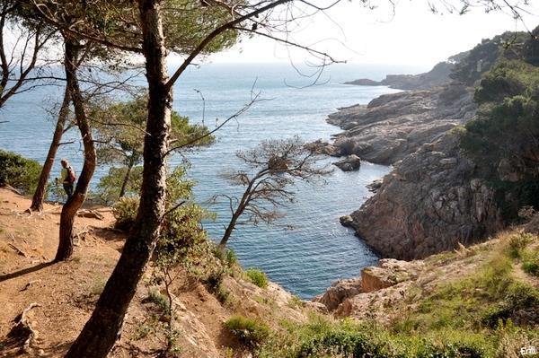 El camino de ronda hacia la Cala d'en Roig nos ofreces bellas vistas sobre el mar, en un entorno natural