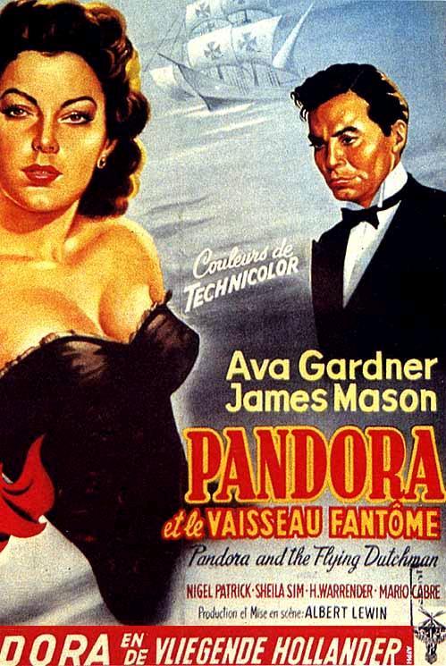 """Cartel cinematográfico de la versión francesa de """"Pandora y el Holandés Errante"""", filmada en Tossa de Mar en 1950"""