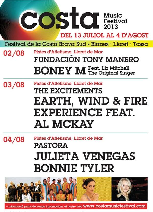Calendario parcial con los grandes conciertos en la pista de atletismo de Lloret de Mar del Costa Music Festival 2013