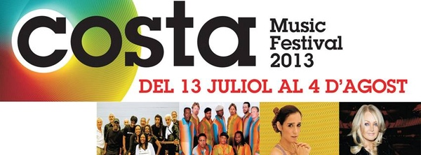 Cartel del Costa Music Festival 2013, que se celebra en las localidades de Blanes, Lloret de Mar y Tossa de Mar, en la Costa Brava sur