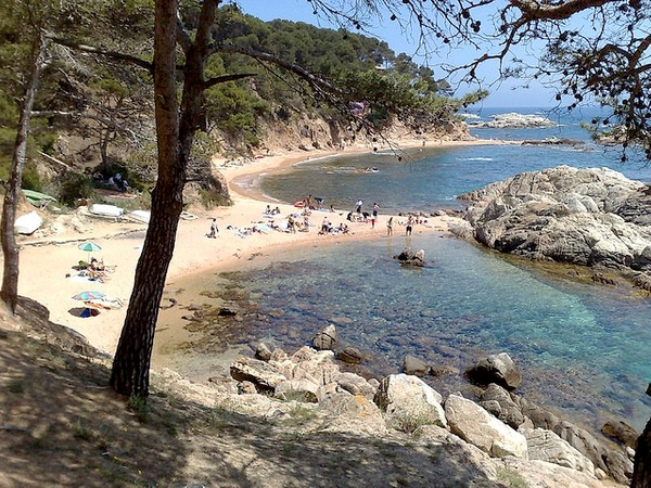 Cala Estreta es una cala virgen situada en la zona más natural de Palamós, no muy lejos de la playa de Es Castell