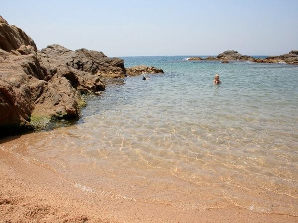 Las aguas de la Cala del Racó d'en Sureda, en Lloret de Mar, son muy tranquilas, además de perfecta para explorar la fauna submarina de pequeños peces y crustáceos asociados a las rocas