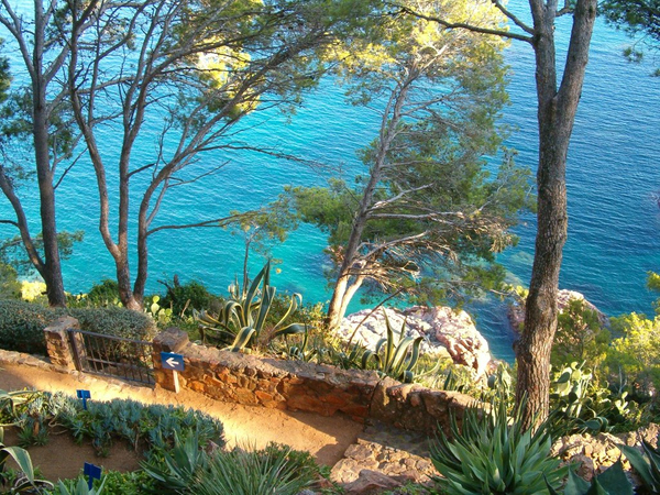Un paseo por el Jardín Botánico de Cap Roig nos permite contemplar el mar frente a la Cala Massoni, aunque no descender.