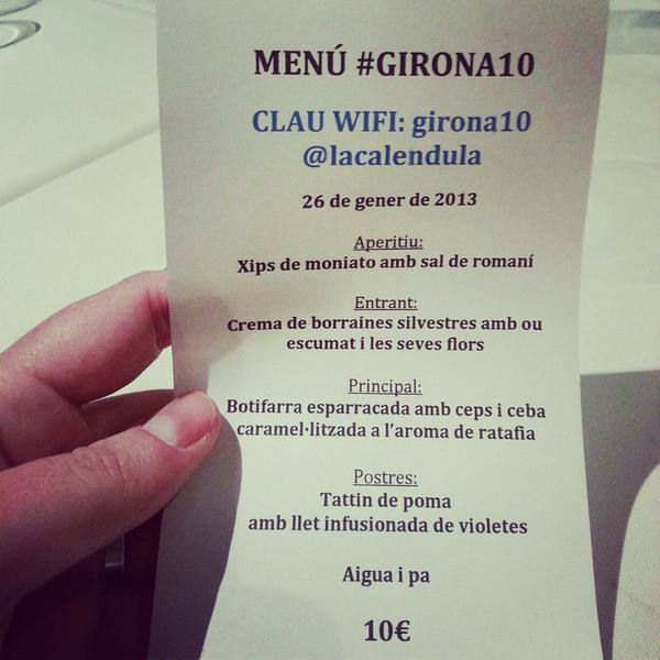 Menú del restaurante La Caléndula, uno de los que forman parte de la oferta de 10€ durante este fin de semana