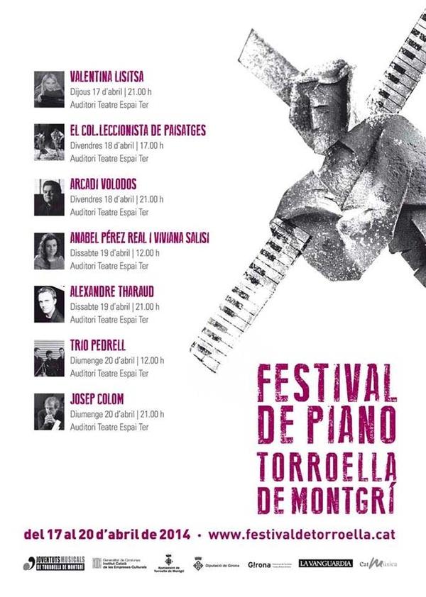 Cartel de la primera edición 2104 del Festival de Piano de Torroella de Montgrí, con una clara referencia en su diseño a la Semana Santa, periodo en el que tiene lugar