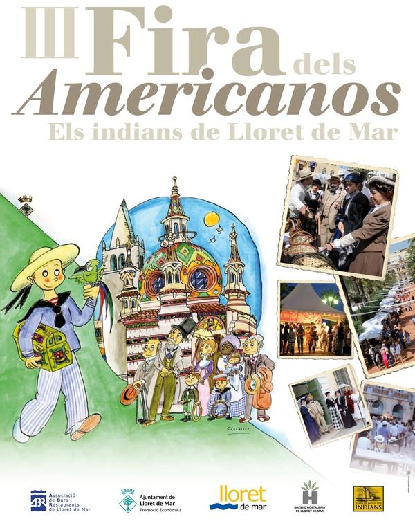 Póster de la Feria de los Americanos de Lloret de Mar, todo un acontecimiento que prácticamente saluda el inicio del verano