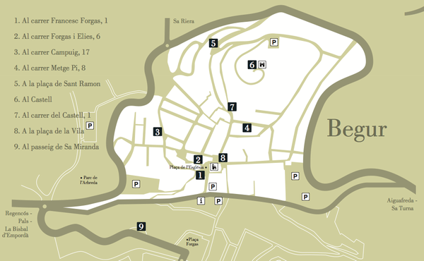 En este mapa es posible observar los puntos de interés que conforma la Ruta Vinyoli por el centro de Begur, Costa Brava