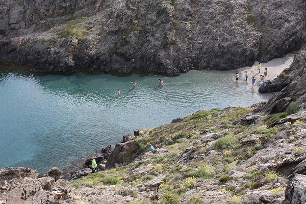 Cala Prona se encuentra en una bahía protegida del viento de la Tramuntana. Sus aguas son cristalinas y con bastante vida marina que aprovecha el plancton aquí existente