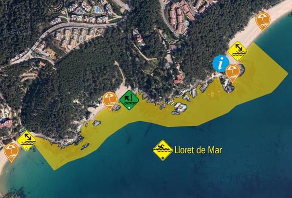 Aquí tenemos un ejemplo de itinerario de Vía Brava que transcurre entre las Playas Fenals (al norte) y Santa Cristina (al sur), en Lloret de Mar, de unos 1200 metros de longitud