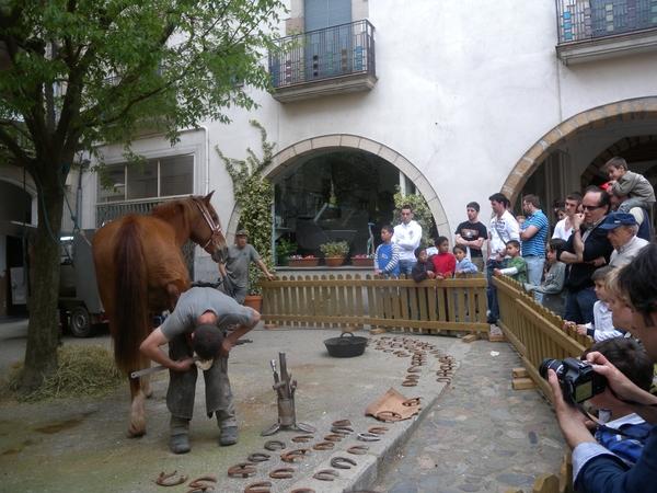 Para quienes viven en las ciudades no es fácil tener la oportunidad de contemplar cómo se calzan las herraduras a un caballo. Pues bien, en la Feria Tierra de Brujas y Bandidos, entre otras actividades, vemos cómo se hace, ante la atenta y curiosa mirada de niños y mayores