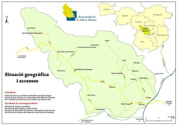 Tal y como se puede apreciar en este mapa de la provincia de Girona el Valle de Llémena se encuentra entre la ciudad de Girona y la comarca de la Garrotxa, y se trata de una zona natural excepcional ya que comparte características propias del clima mediterráneo con el continental