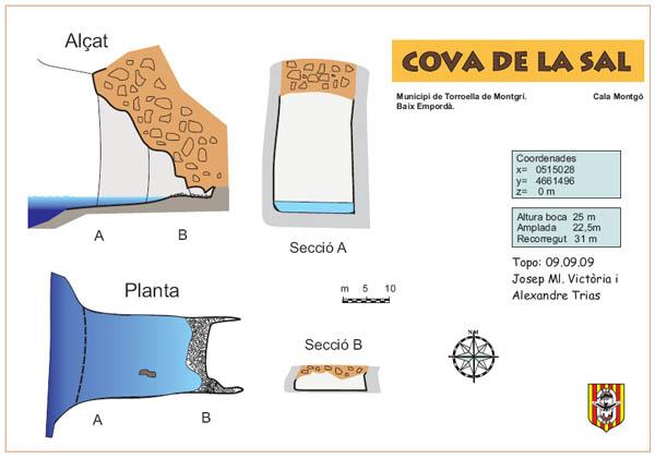 La gruta entra en la roca del acantilado formando una pared transversal, y forma a menudo una pequeña cala con guijarros. Se pueden recorrer 31 metros hasta el interior.