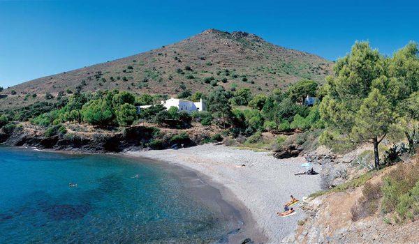 Cala Calitjàs se encuentra en Roses, Cabo de Creus, entre las playas de Montjoi (al sur) y la Cala Pelosa (al norte), justo antes de aparecer el Cabo de Norfeu