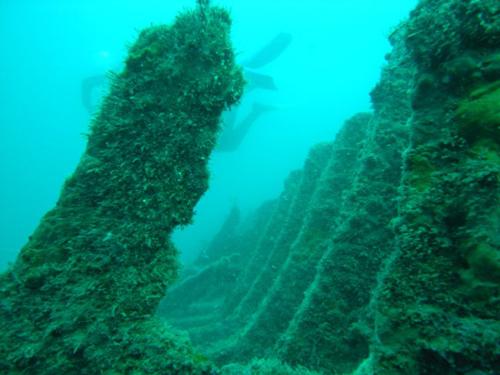 El fondo sur de Cala Calitjàs, donde se encuentra la Punta de la Ferrera, conserva todavía el pecio correspondiente al Phebos, hundido en 1934