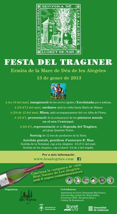 Poster 2013 que anuncia la celebración de la Festa del Traginer en la Ermita de las Alegrías, Lloret de Mar