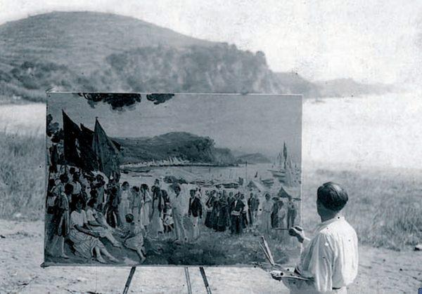 En 1921 Joan Llaverías pinta una de sus obras más conocidas y más famosas sobre la Lloret de Mar: la Procesión de Santa Cristina