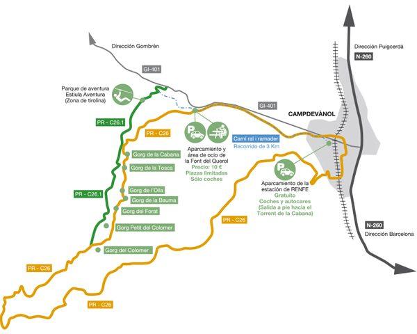 Mapa con el itinerario que conforma la Ruta dels 7 Gorgs, no muy lejos de la estación de tren de Campdevànol